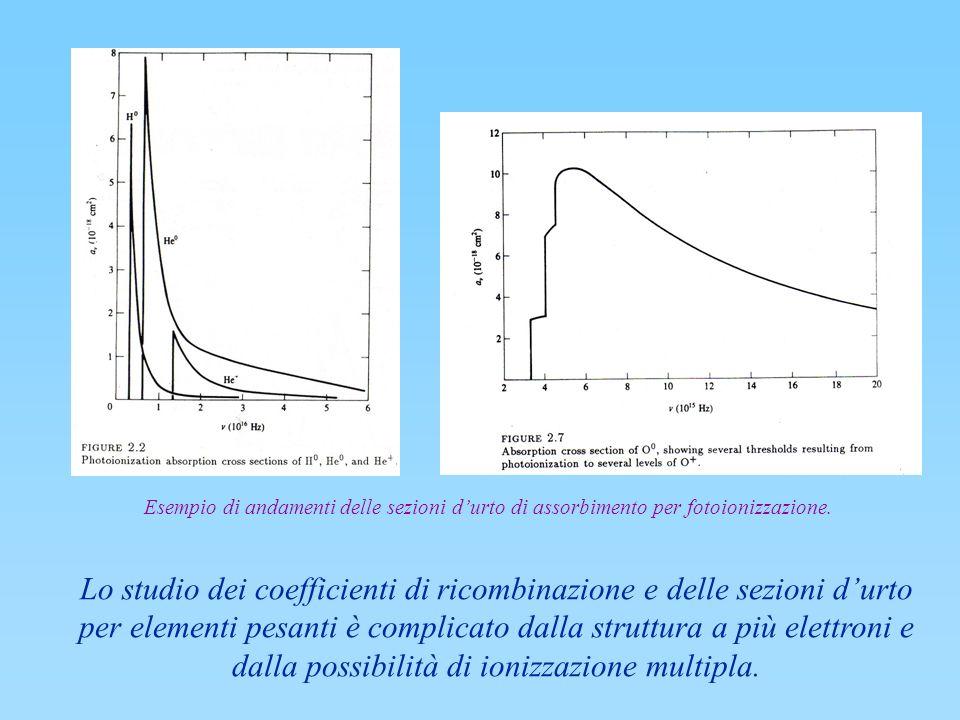 Lo studio dei coefficienti di ricombinazione e delle sezioni durto per elementi pesanti è complicato dalla struttura a più elettroni e dalla possibili