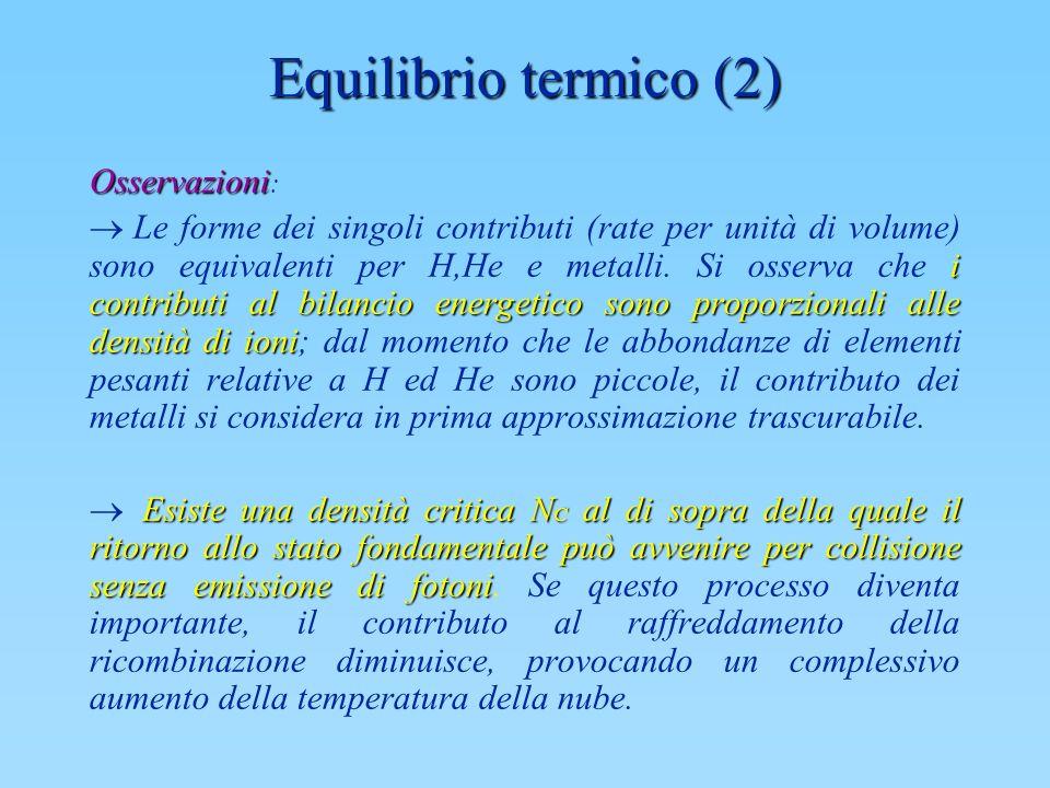 Equilibrio termico (2) Osservazioni Osservazioni : i contributi al bilancio energetico sono proporzionali alle densità di ioni Le forme dei singoli co
