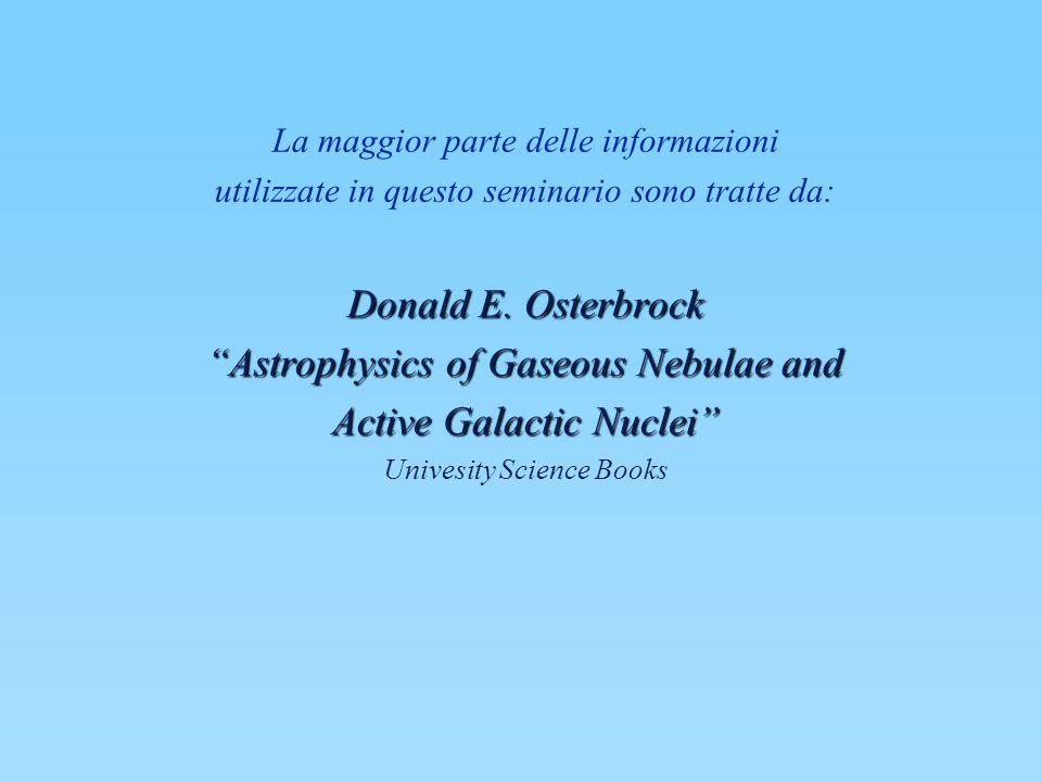 La maggior parte delle informazioni utilizzate in questo seminario sono tratte da: Donald E. Osterbrock Astrophysics of Gaseous Nebulae and Active Gal