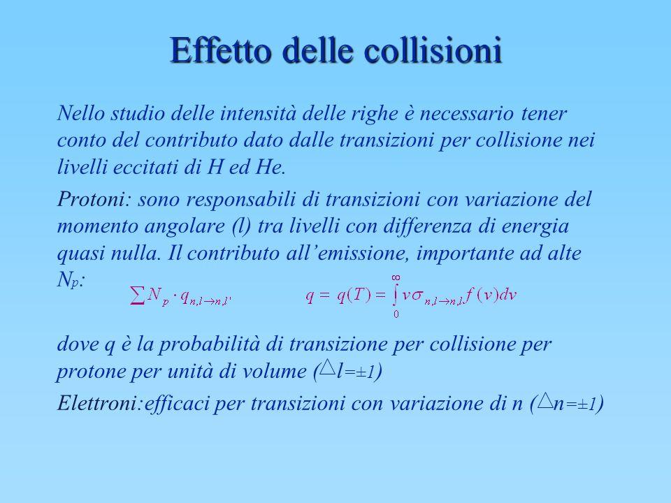 Effetto delle collisioni Nello studio delle intensità delle righe è necessario tener conto del contributo dato dalle transizioni per collisione nei li