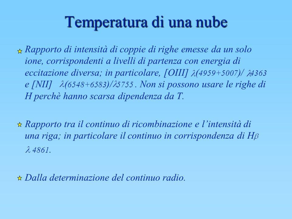 Temperatura di una nube Rapporto di intensità di coppie di righe emesse da un solo ione, corrispondenti a livelli di partenza con energia di eccitazio