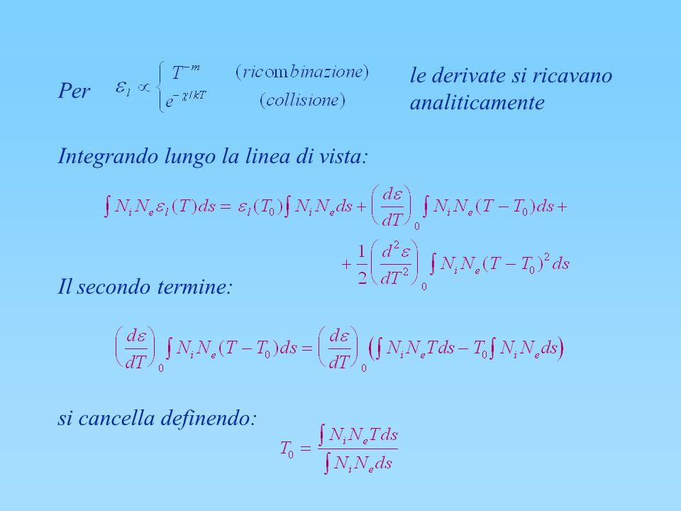 Per Integrando lungo la linea di vista: Il secondo termine: si cancella definendo: le derivate si ricavano analiticamente