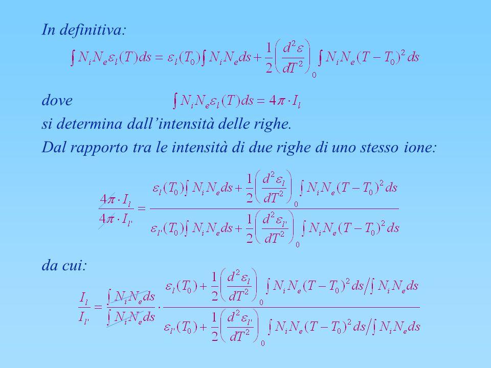 In definitiva: dove si determina dallintensità delle righe. Dal rapporto tra le intensità di due righe di uno stesso ione: da cui: