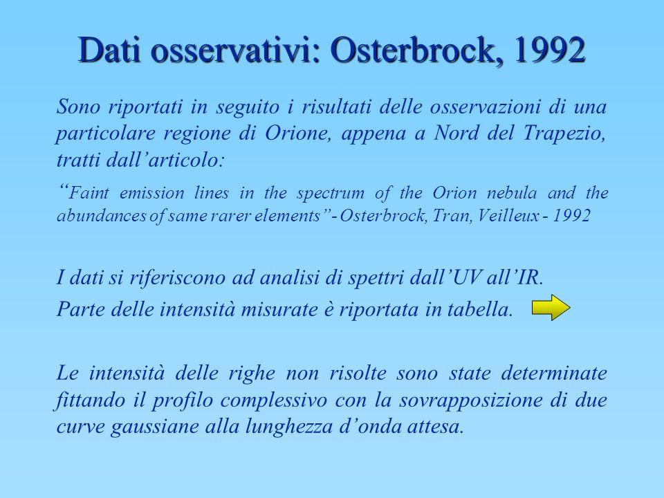 Dati osservativi: Osterbrock, 1992 Sono riportati in seguito i risultati delle osservazioni di una particolare regione di Orione, appena a Nord del Tr