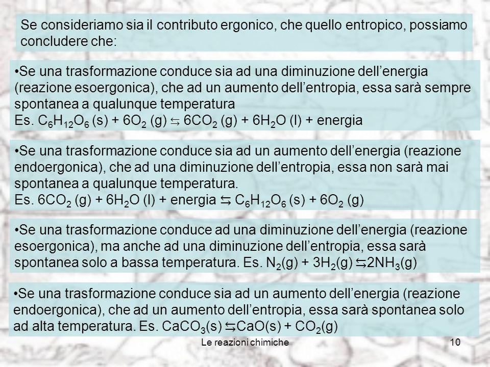 Le reazioni chimiche9 Come varia lentropia Nei passaggi di stato da solido a liquido e da liquido a gas lentropia aumenta; nella direzione opposta len