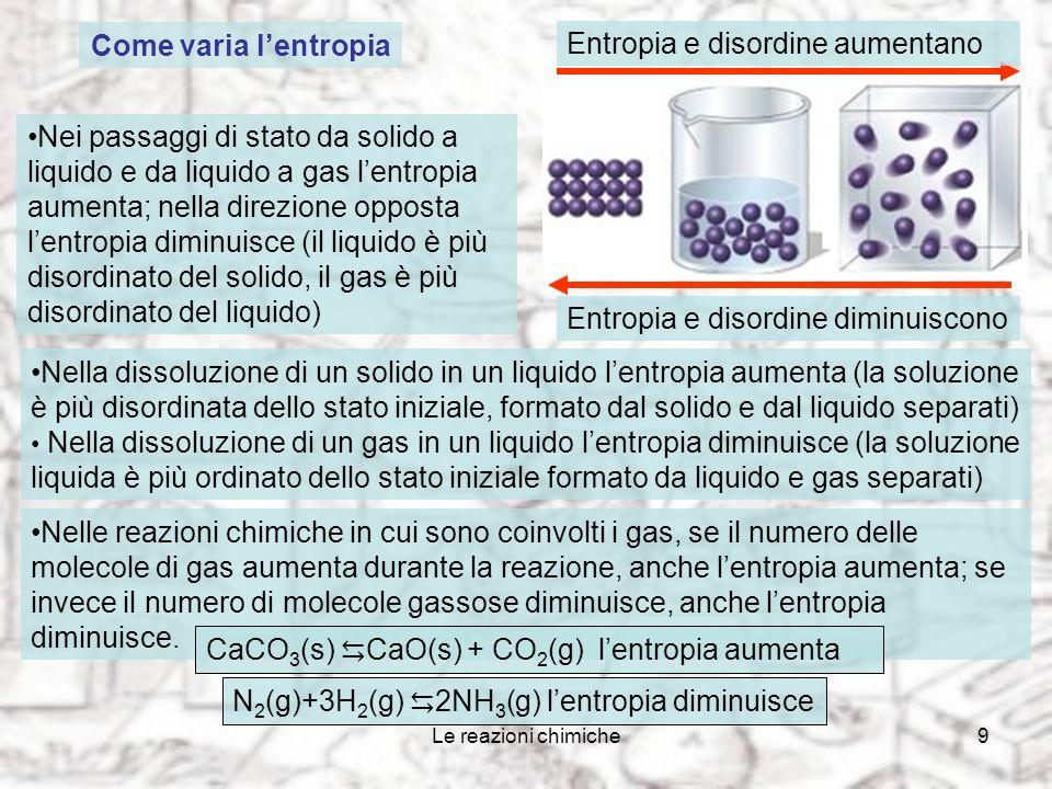 Le reazioni chimiche9 Come varia lentropia Nei passaggi di stato da solido a liquido e da liquido a gas lentropia aumenta; nella direzione opposta lentropia diminuisce (il liquido è più disordinato del solido, il gas è più disordinato del liquido) Entropia e disordine aumentano Entropia e disordine diminuiscono Nella dissoluzione di un solido in un liquido lentropia aumenta (la soluzione è più disordinata dello stato iniziale, formato dal solido e dal liquido separati) Nella dissoluzione di un gas in un liquido lentropia diminuisce (la soluzione liquida è più ordinato dello stato iniziale formato da liquido e gas separati) Nelle reazioni chimiche in cui sono coinvolti i gas, se il numero delle molecole di gas aumenta durante la reazione, anche lentropia aumenta; se invece il numero di molecole gassose diminuisce, anche lentropia diminuisce.