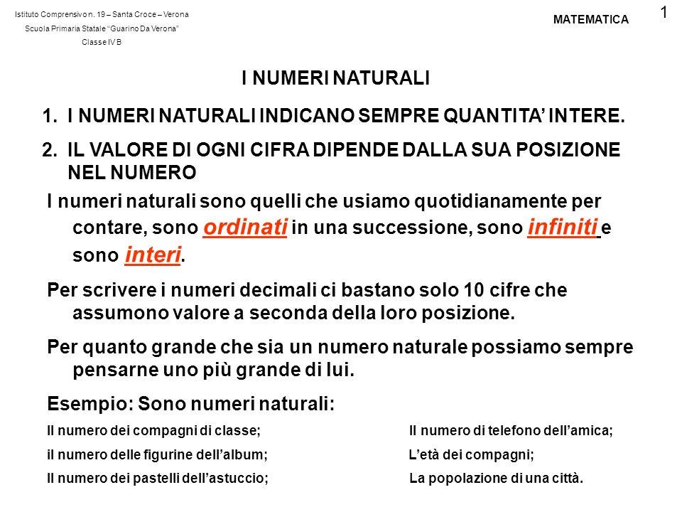 Istituto Comprensivo n. 19 – Santa Croce – Verona Scuola Primaria Statale Guarino Da Verona Classe IV B MATEMATICA I NUMERI NATURALI 1.I NUMERI NATURA