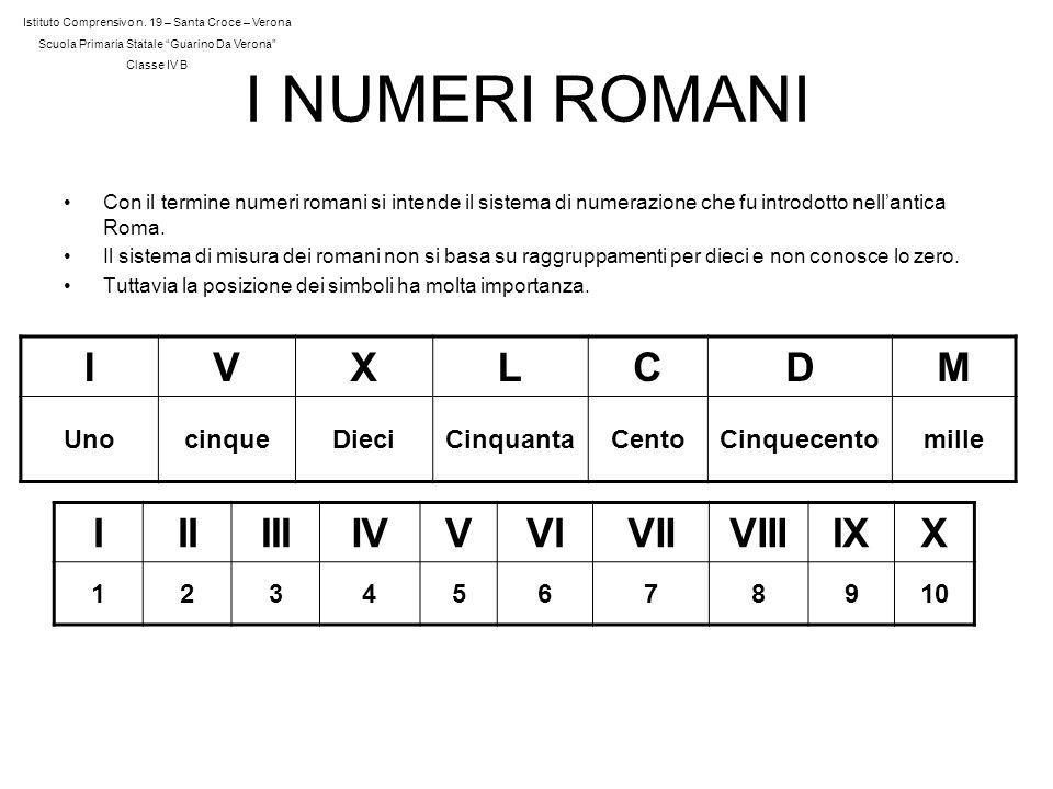 I NUMERI ROMANI Con il termine numeri romani si intende il sistema di numerazione che fu introdotto nellantica Roma. Il sistema di misura dei romani n