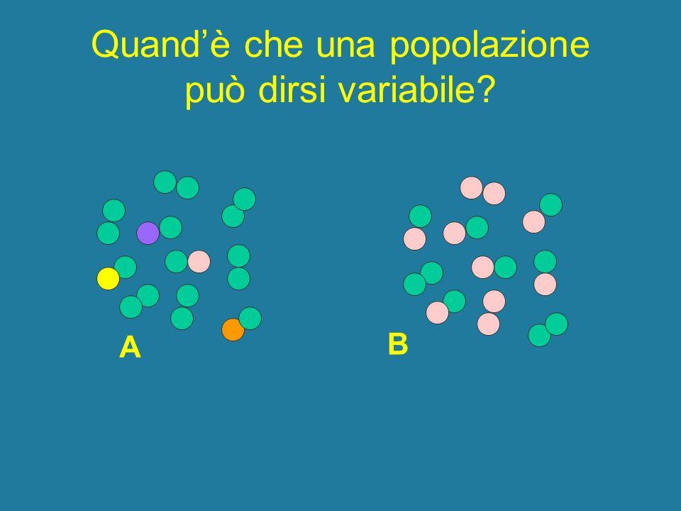 Quandè che una popolazione può dirsi variabile? A B