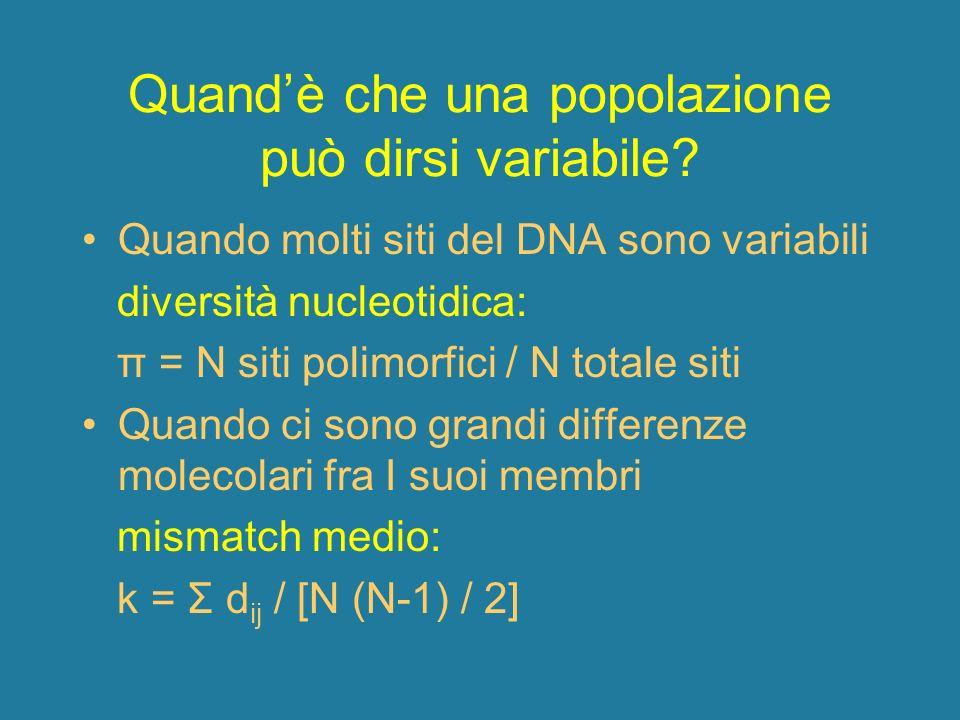 Quandè che una popolazione può dirsi variabile? Quando molti siti del DNA sono variabili diversità nucleotidica: π = N siti polimorfici / N totale sit