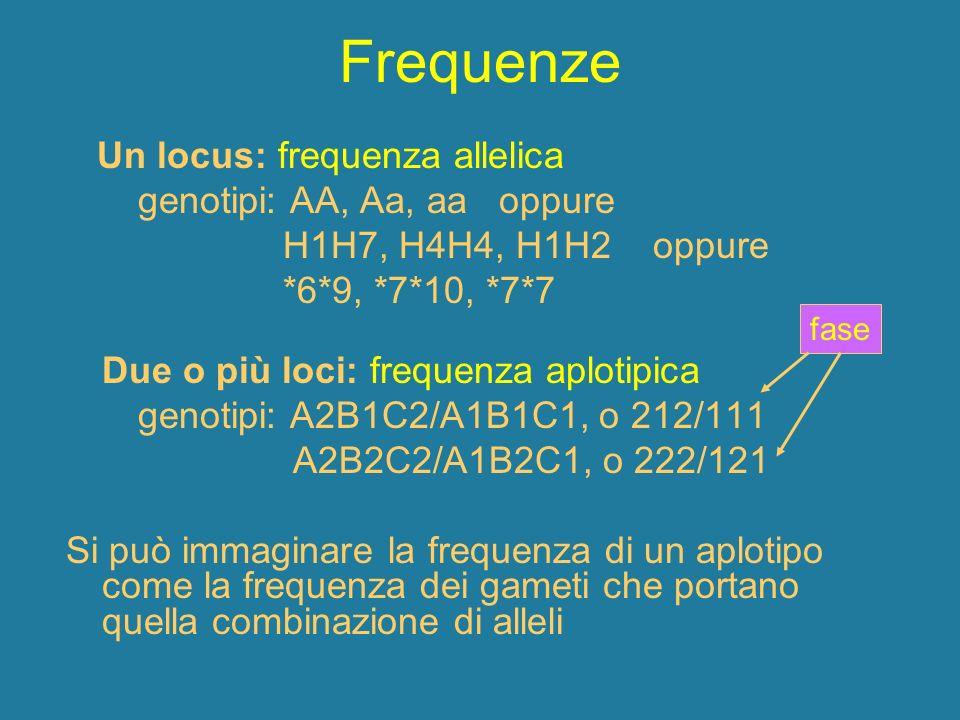 Frequenze Un locus: frequenza allelica genotipi: AA, Aa, aa oppure H1H7, H4H4, H1H2 oppure *6*9, *7*10, *7*7 Due o più loci: frequenza aplotipica geno