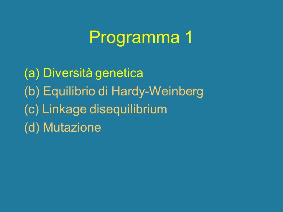 Programma 1 (a) Diversità genetica (b) Equilibrio di Hardy-Weinberg (c) Linkage disequilibrium (d) Mutazione