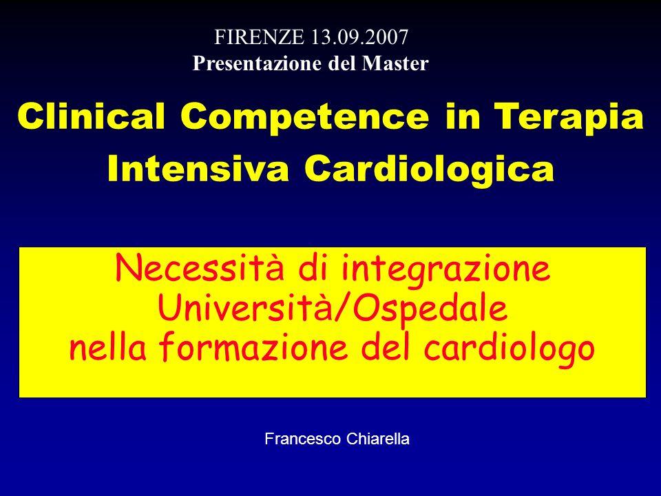 Necessit à di integrazione Universit à /Ospedale nella formazione del cardiologo Clinical Competence in Terapia Intensiva Cardiologica FIRENZE 13.09.2