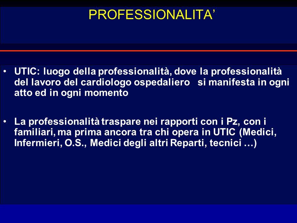 PROFESSIONALITA UTIC: luogo della professionalità, dove la professionalità del lavoro del cardiologo ospedaliero si manifesta in ogni atto ed in ogni