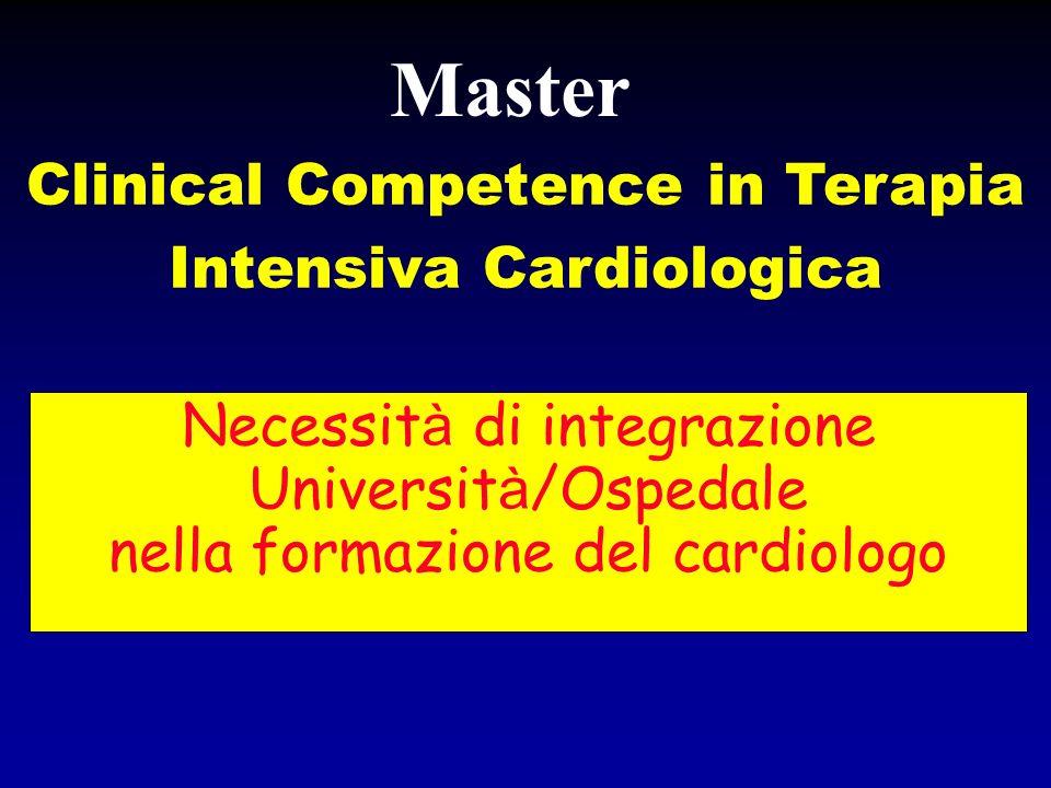 Necessit à di integrazione Universit à /Ospedale nella formazione del cardiologo Clinical Competence in Terapia Intensiva Cardiologica Master