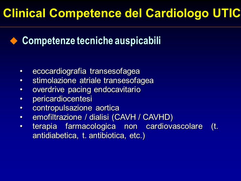 Clinical Competence del Cardiologo UTIC ecocardiografia transesofagea stimolazione atriale transesofagea overdrive pacing endocavitario pericardiocent