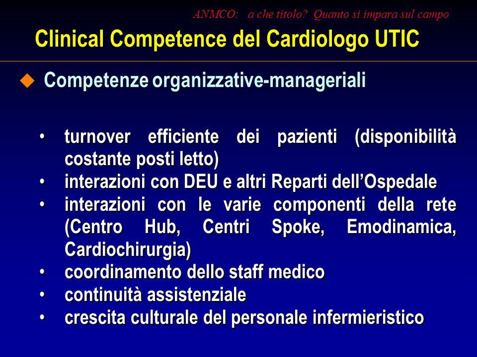 Clinical Competence del Cardiologo UTIC turnover efficiente dei pazienti (disponibilità costante posti letto) interazioni con DEU e altri Reparti dell