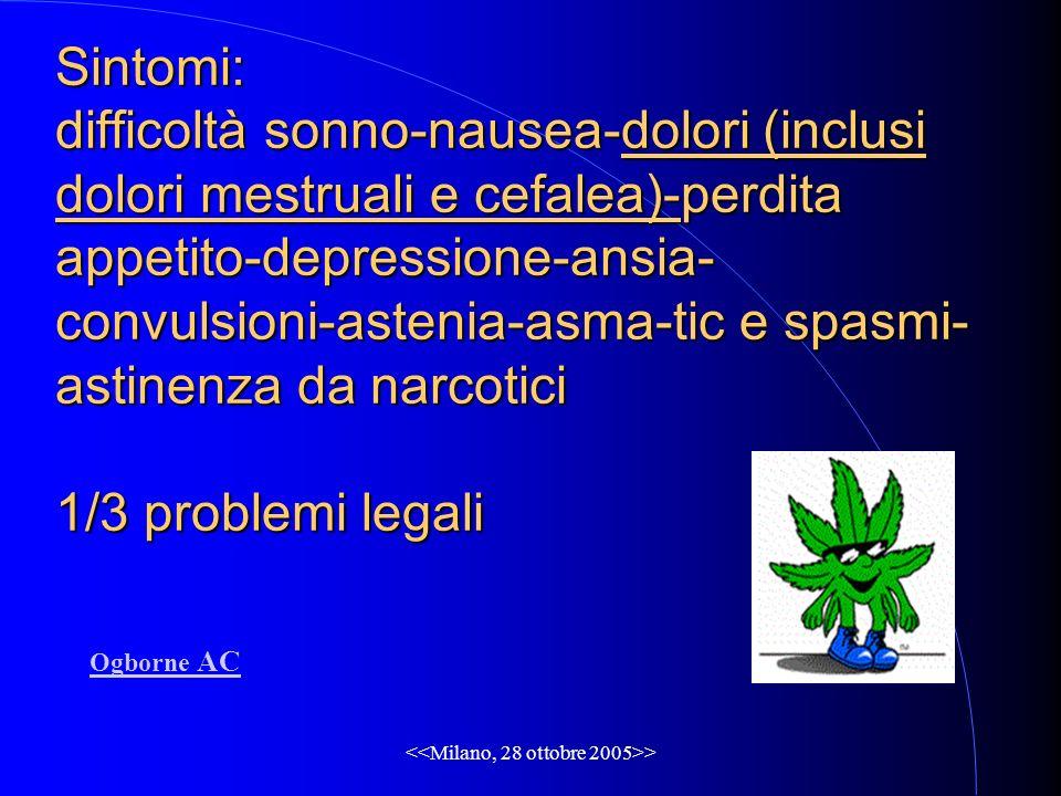 > Sintomi: difficoltà sonno-nausea-dolori (inclusi dolori mestruali e cefalea)-perdita appetito-depressione-ansia- convulsioni-astenia-asma-tic e spasmi- astinenza da narcotici 1/3 problemi legali Ogborne AC