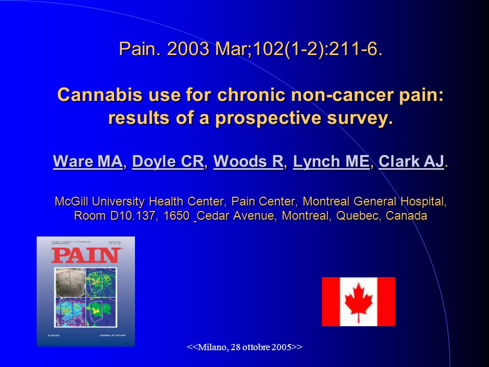 > Pain. 2003 Mar;102(1-2):211-6. Cannabis use for chronic non-cancer pain: results of a prospective survey. Ware MA, Doyle CR, Woods R, Lynch ME, Clar