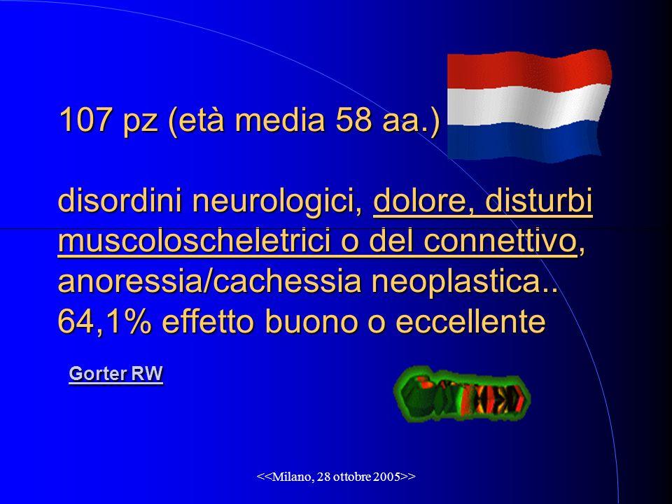 > 107 pz (età media 58 aa.) disordini neurologici, dolore, disturbi muscoloscheletrici o del connettivo, anoressia/cachessia neoplastica.. 64,1% effet