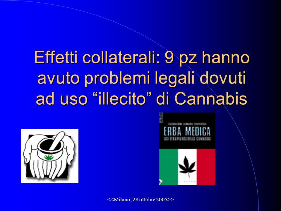 Effetti collaterali: 9 pz hanno avuto problemi legali dovuti ad uso illecito di Cannabis