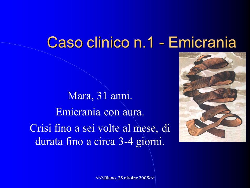 Caso clinico n.1 - Emicrania Mara, 31 anni. Emicrania con aura. Crisi fino a sei volte al mese, di durata fino a circa 3-4 giorni.
