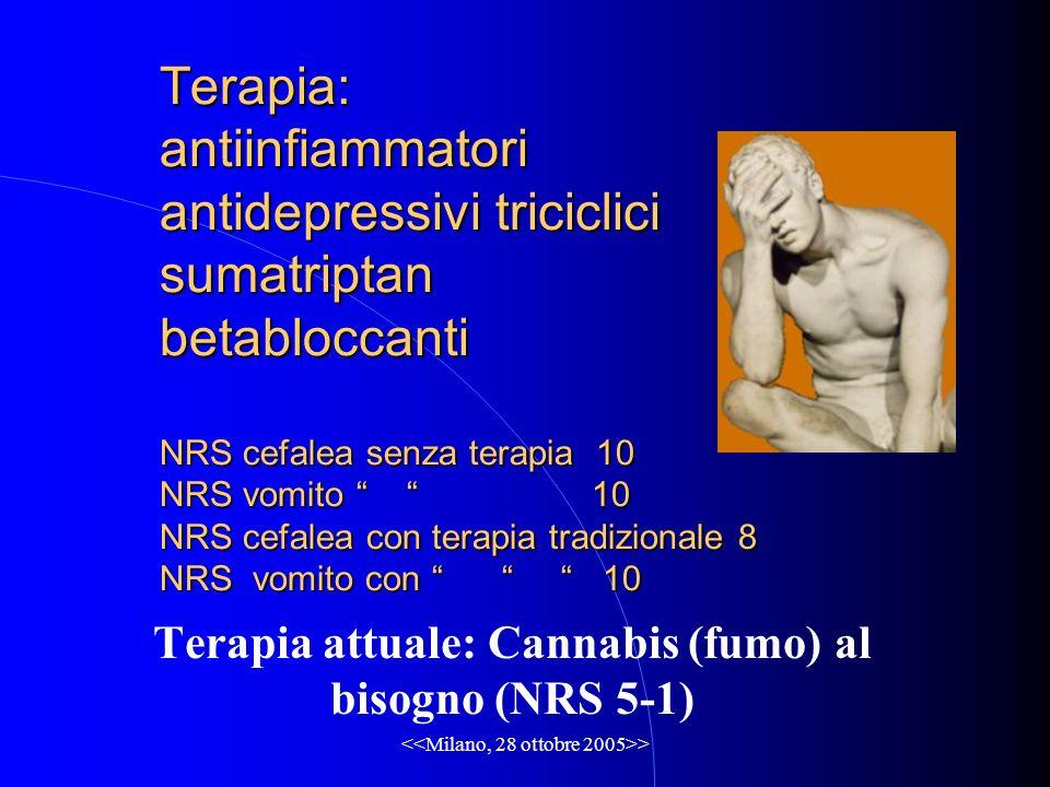 > Terapia: antiinfiammatori antidepressivi triciclici sumatriptan betabloccanti NRS cefalea senza terapia 10 NRS vomito 10 NRS cefalea con terapia tradizionale 8 NRS vomito con 10 Terapia attuale: Cannabis (fumo) al bisogno (NRS 5-1)