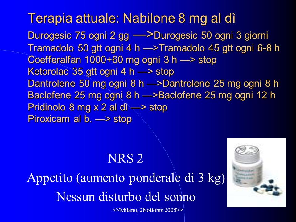 > Terapia attuale: Nabilone 8 mg al dì Durogesic 75 ogni 2 gg > Durogesic 50 ogni 3 giorni Tramadolo 50 gtt ogni 4 h >Tramadolo 45 gtt ogni 6-8 h Coefferalfan 1000+60 mg ogni 3 h > stop Ketorolac 35 gtt ogni 4 h > stop Dantrolene 50 mg ogni 8 h >Dantrolene 25 mg ogni 8 h Baclofene 25 mg ogni 8 h >Baclofene 25 mg ogni 12 h Pridinolo 8 mg x 2 al dì > stop Piroxicam al b.