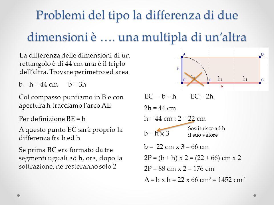 Problemi del tipo la differenza di due dimensioni è …. una multipla di unaltra La differenza delle dimensioni di un rettangolo è di 44 cm una è il tri
