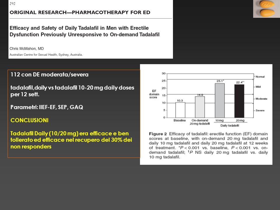112 con DE moderata/severa tadalafil,daily vs tadalafil 10-20 mg daily doses per 12 sett. Parametri: IIEF-EF, SEP, GAQ CONCLUSIONI Tadalafil Daily (10