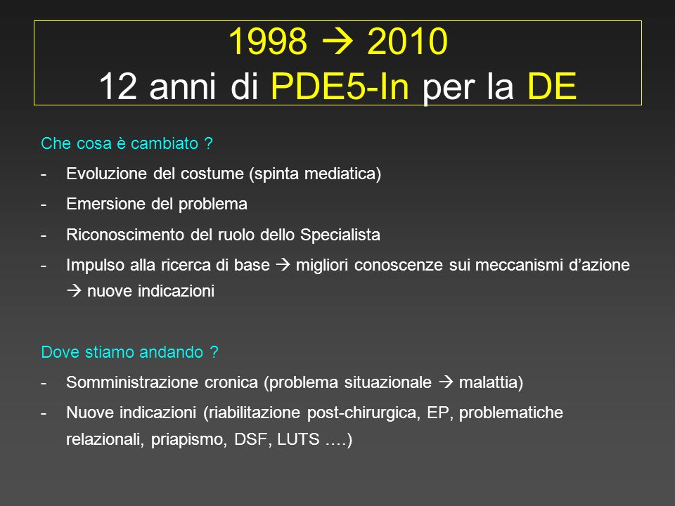 1998 2010 12 anni di PDE5-In per la DE Che cosa è cambiato ? -Evoluzione del costume (spinta mediatica) -Emersione del problema -Riconoscimento del ru