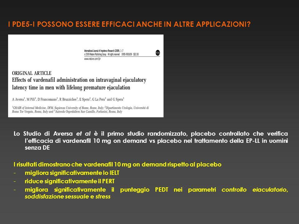 FARMACOINIZIO DAZIONE DURATA DELLEFFETTO TEMPO DI ASSUNZIONE PRIMA DELLATTIVITA SESSUALE VARDENAFIL10 min5-7h (up to 12)0,5 - 1 h SILDENAFIL30 min4-6 h (up to 12)1 h TADALAFIL20 min24-36 h (up to 72)0,5-1 h Raheem et al, Patient Preference and Adherence 2009 FARMACOLOGIA CLINICA