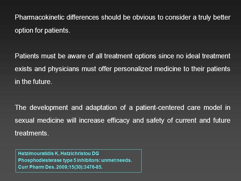 Hatzimouratidis K, Hatzichristou DG Phosphodiesterase type 5 inhibitors: unmet needs. Curr Pharm Des. 2009;15(30):3476-85. Pharmacokinetic differences