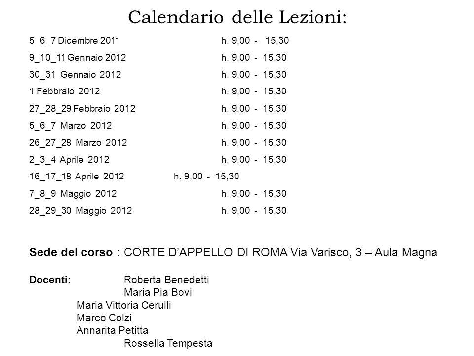 Calendario delle Lezioni: 5_6_7 Dicembre 2011 h. 9,00 - 15,30 9_10_11 Gennaio 2012 h. 9,00 - 15,30 30_31 Gennaio 2012 h. 9,00 - 15,30 1 Febbraio 2012