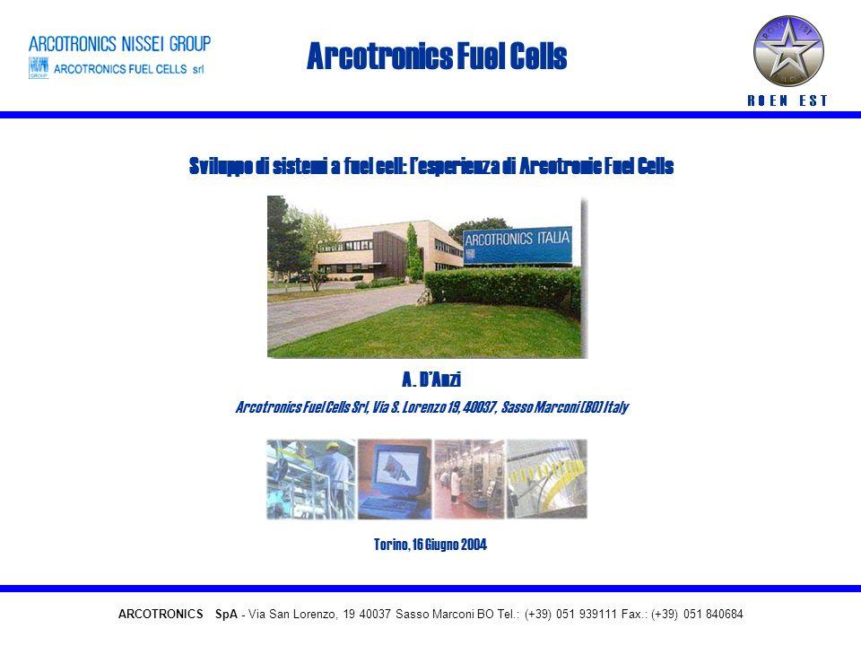 ARCOTRONICS FUEL CELLS 4 kWe, Micro CHP Caratteristiche principali del sistema Combustibile primarioGas naturale Potenza elettrica1-4 kw Potenza termica4-24 kW Efficienza elettrica netta > 30 % Efficienza totale> 80 % ARCOTRONICS FUEL CELLS Srl – www.arcotronicsfuelcells.com