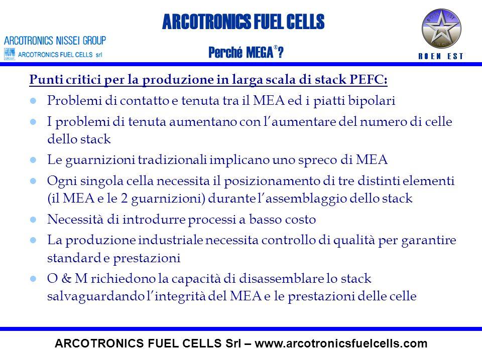 ARCOTRONICS FUEL CELLS Perché le PEFC? ARCOTRONICS FUEL CELLS Srl – www.arcotronicsfuelcells.com Nessun problema di start up se si utilizzo H2 Elevata
