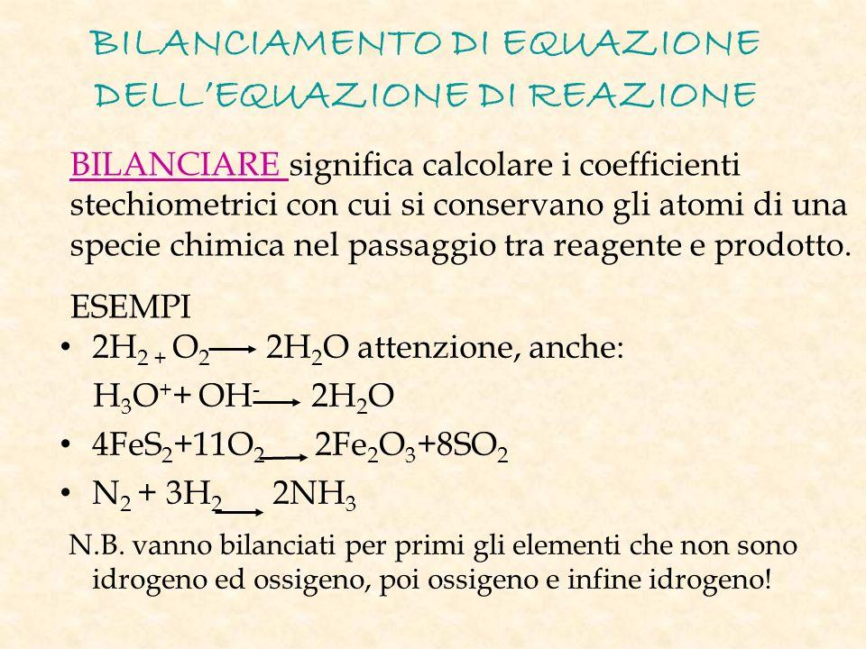 BILANCIAMENTO DI EQUAZIONE DELLEQUAZIONE DI REAZIONE 2H 2 + O 2 2H 2 O attenzione, anche: H 3 O + + OH - 2H 2 O 4FeS 2 +11O 2 2Fe 2 O 3 +8SO 2 N 2 + 3