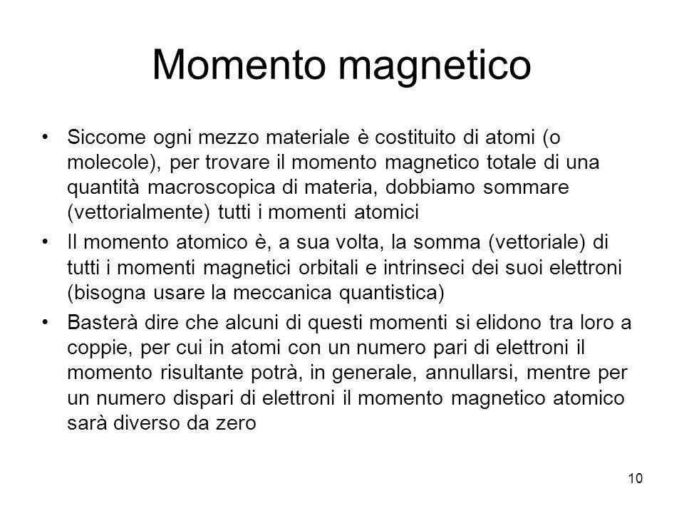10 Momento magnetico Siccome ogni mezzo materiale è costituito di atomi (o molecole), per trovare il momento magnetico totale di una quantità macroscopica di materia, dobbiamo sommare (vettorialmente) tutti i momenti atomici Il momento atomico è, a sua volta, la somma (vettoriale) di tutti i momenti magnetici orbitali e intrinseci dei suoi elettroni (bisogna usare la meccanica quantistica) Basterà dire che alcuni di questi momenti si elidono tra loro a coppie, per cui in atomi con un numero pari di elettroni il momento risultante potrà, in generale, annullarsi, mentre per un numero dispari di elettroni il momento magnetico atomico sarà diverso da zero