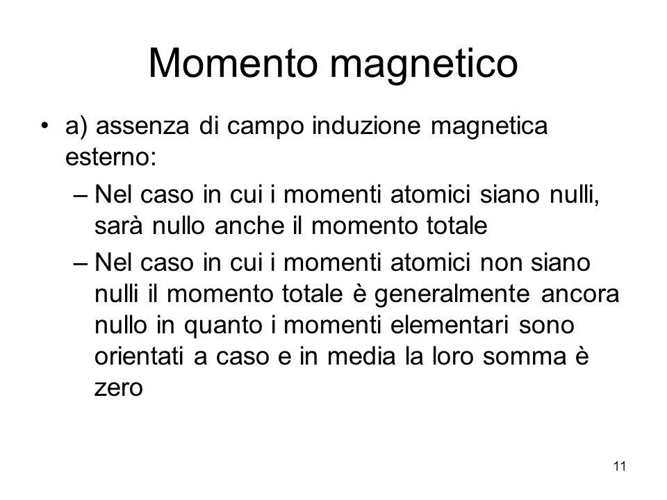 11 Momento magnetico a) assenza di campo induzione magnetica esterno: –Nel caso in cui i momenti atomici siano nulli, sarà nullo anche il momento totale –Nel caso in cui i momenti atomici non siano nulli il momento totale è generalmente ancora nullo in quanto i momenti elementari sono orientati a caso e in media la loro somma è zero
