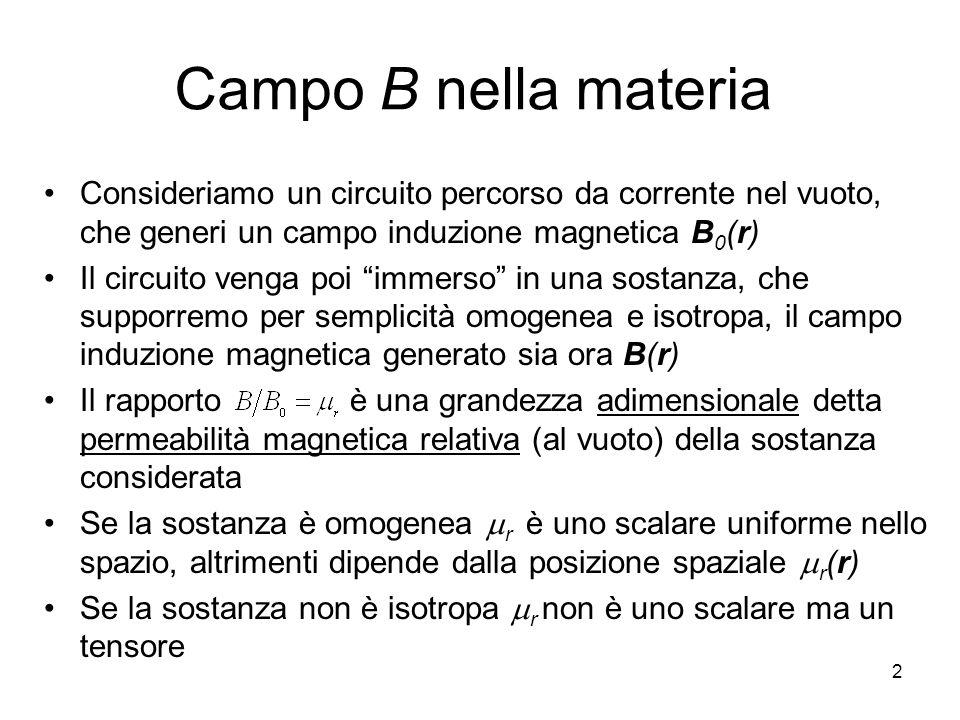 2 Campo B nella materia Consideriamo un circuito percorso da corrente nel vuoto, che generi un campo induzione magnetica B 0 (r) Il circuito venga poi immerso in una sostanza, che supporremo per semplicità omogenea e isotropa, il campo induzione magnetica generato sia ora B(r) Il rapporto è una grandezza adimensionale detta permeabilità magnetica relativa (al vuoto) della sostanza considerata Se la sostanza è omogenea r è uno scalare uniforme nello spazio, altrimenti dipende dalla posizione spaziale r (r) Se la sostanza non è isotropa r non è uno scalare ma un tensore