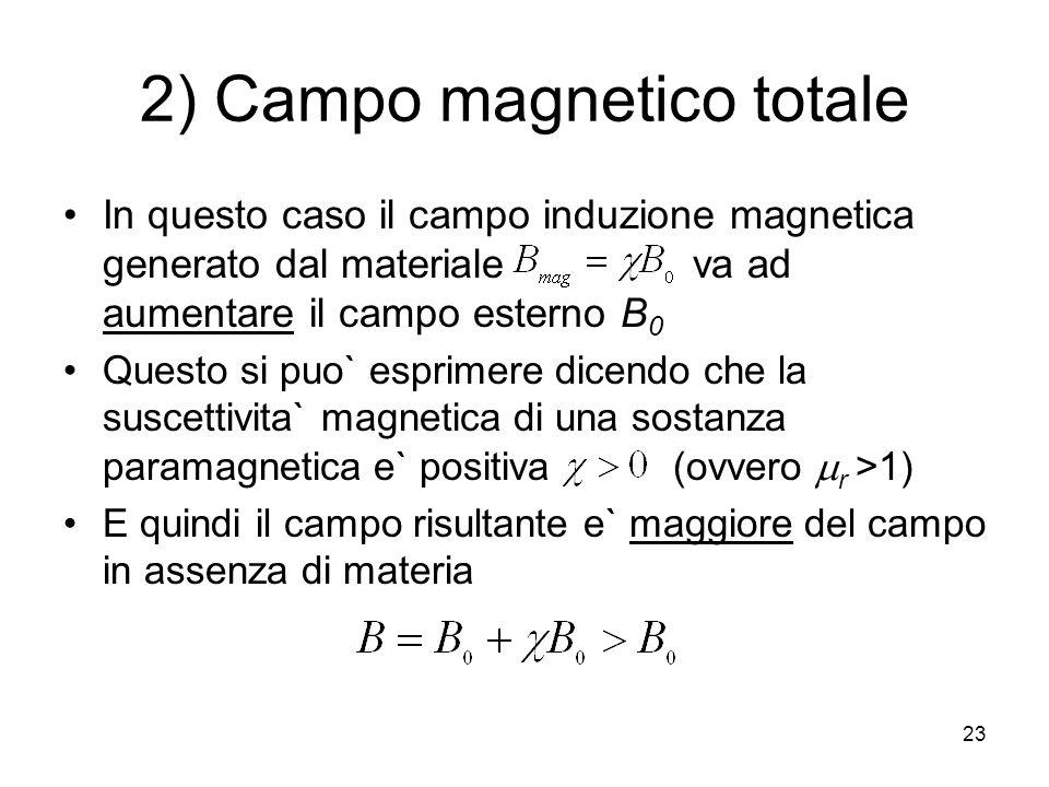23 2) Campo magnetico totale In questo caso il campo induzione magnetica generato dal materiale va ad aumentare il campo esterno B 0 Questo si puo` esprimere dicendo che la suscettivita` magnetica di una sostanza paramagnetica e` positiva (ovvero r >1) E quindi il campo risultante e` maggiore del campo in assenza di materia