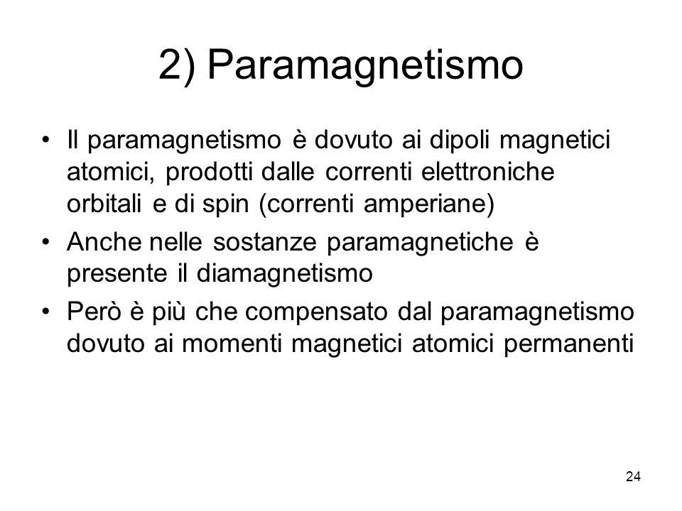24 2) Paramagnetismo Il paramagnetismo è dovuto ai dipoli magnetici atomici, prodotti dalle correnti elettroniche orbitali e di spin (correnti amperiane) Anche nelle sostanze paramagnetiche è presente il diamagnetismo Però è più che compensato dal paramagnetismo dovuto ai momenti magnetici atomici permanenti