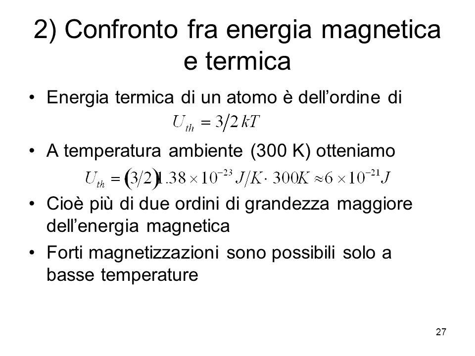 27 2) Confronto fra energia magnetica e termica Energia termica di un atomo è dellordine di A temperatura ambiente (300 K) otteniamo Cioè più di due ordini di grandezza maggiore dellenergia magnetica Forti magnetizzazioni sono possibili solo a basse temperature