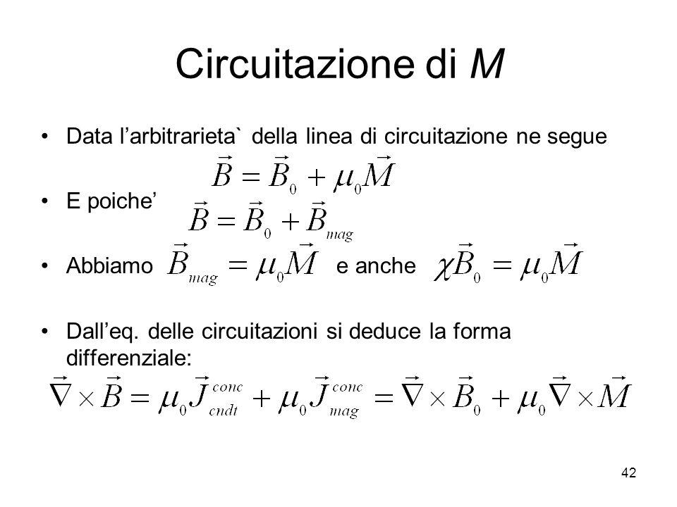 42 Circuitazione di M Data larbitrarieta` della linea di circuitazione ne segue E poiche Abbiamo e anche Dalleq.