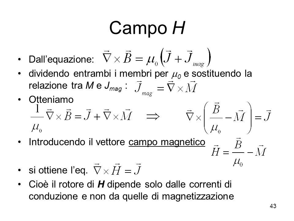 43 Campo H Dallequazione: dividendo entrambi i membri per 0 e sostituendo la relazione tra M e J mag : Otteniamo Introducendo il vettore campo magnetico si ottiene leq.
