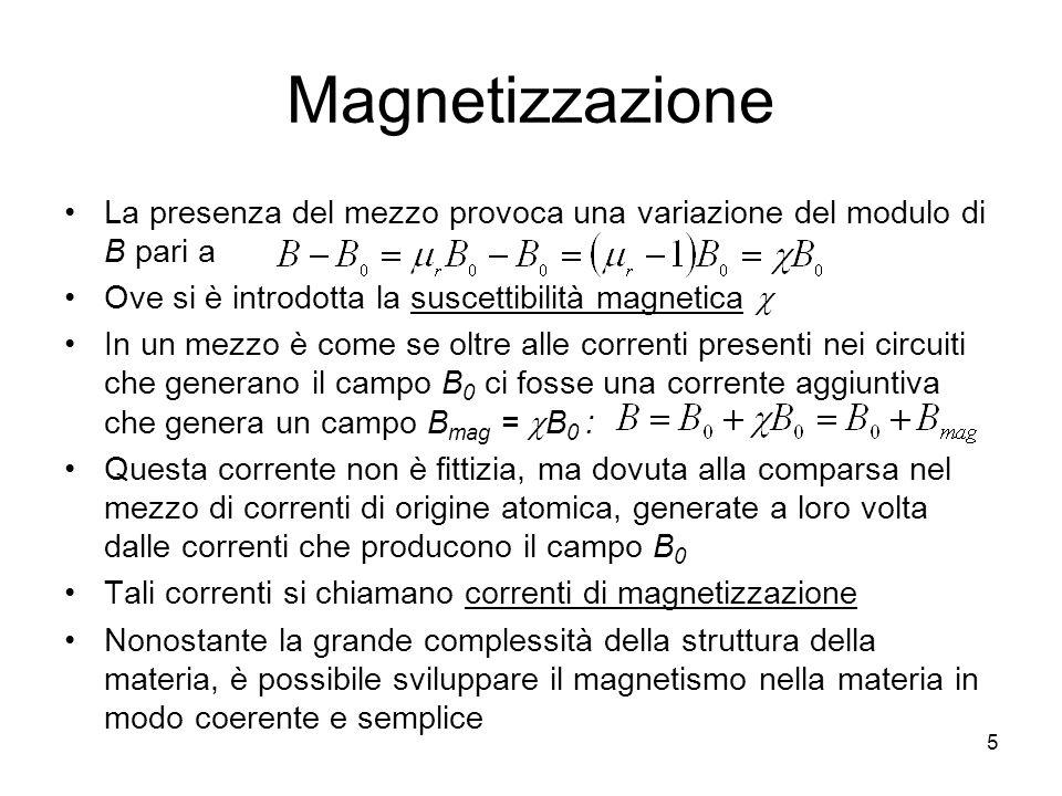 5 Magnetizzazione La presenza del mezzo provoca una variazione del modulo di B pari a Ove si è introdotta la suscettibilità magnetica In un mezzo è come se oltre alle correnti presenti nei circuiti che generano il campo B 0 ci fosse una corrente aggiuntiva che genera un campo B mag = B 0 : Questa corrente non è fittizia, ma dovuta alla comparsa nel mezzo di correnti di origine atomica, generate a loro volta dalle correnti che producono il campo B 0 Tali correnti si chiamano correnti di magnetizzazione Nonostante la grande complessità della struttura della materia, è possibile sviluppare il magnetismo nella materia in modo coerente e semplice