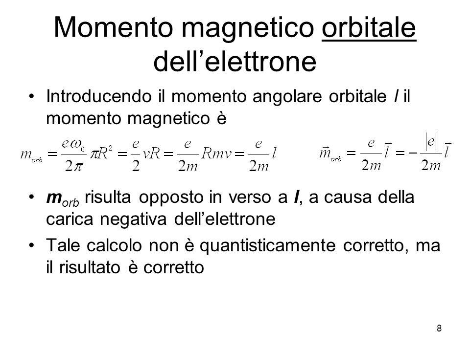 8 Momento magnetico orbitale dellelettrone Introducendo il momento angolare orbitale l il momento magnetico è m orb risulta opposto in verso a l, a causa della carica negativa dellelettrone Tale calcolo non è quantisticamente corretto, ma il risultato è corretto