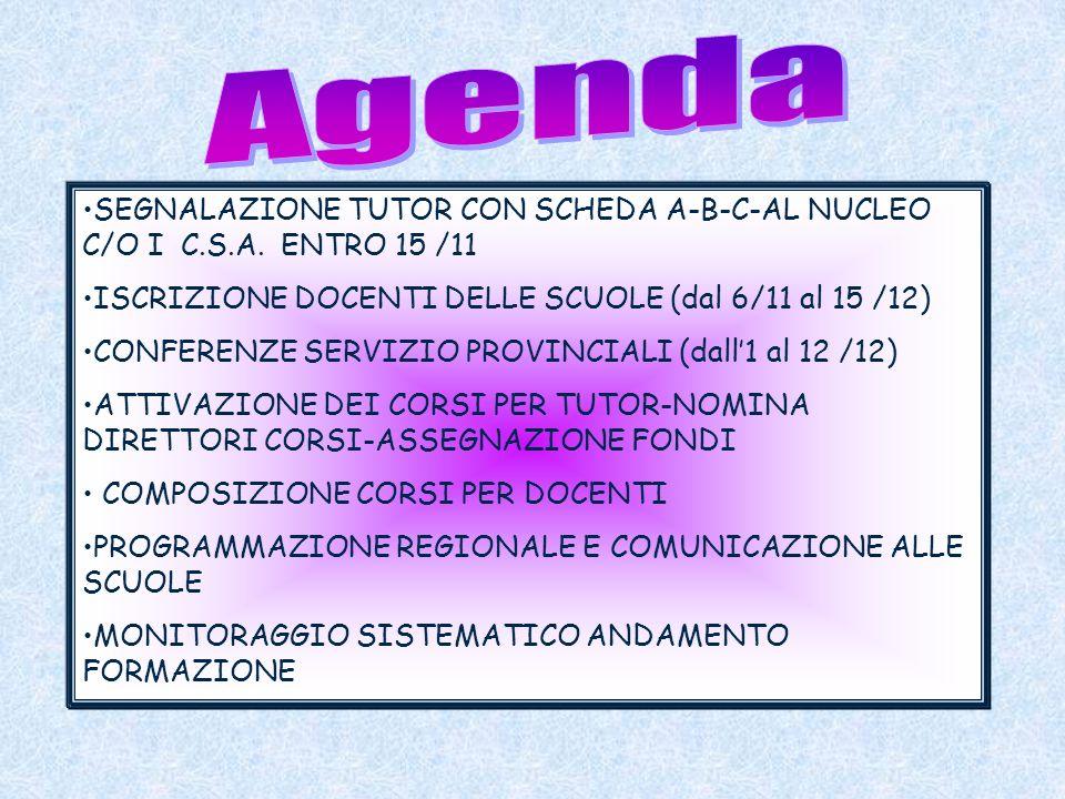 SEGNALAZIONE TUTOR CON SCHEDA A-B-C-AL NUCLEO C/O I C.S.A. ENTRO 15 /11 ISCRIZIONE DOCENTI DELLE SCUOLE (dal 6/11 al 15 /12) CONFERENZE SERVIZIO PROVI