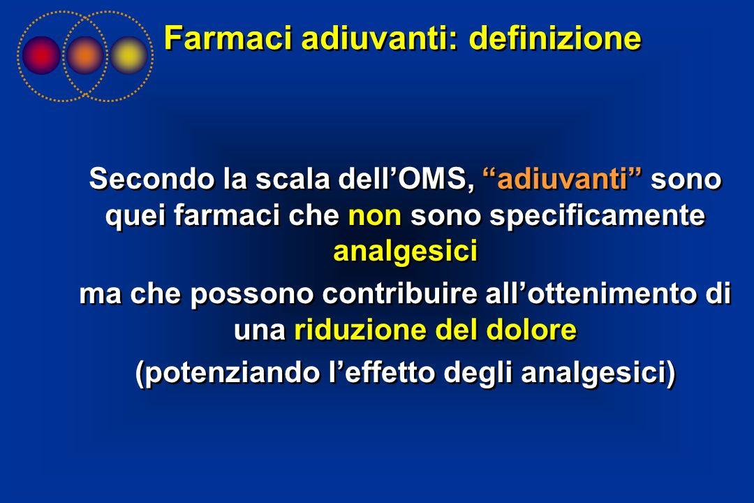 Secondo la scala dellOMS, adiuvanti sono quei farmaci che non sono specificamente analgesici ma che possono contribuire allottenimento di una riduzion