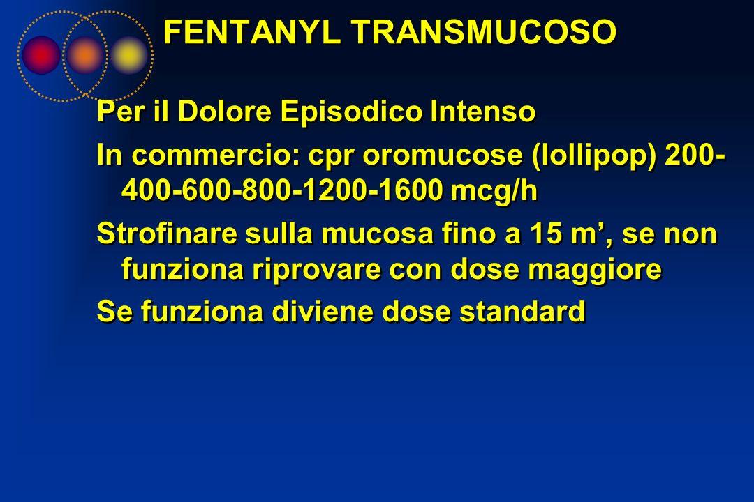 FENTANYL TRANSMUCOSO Per il Dolore Episodico Intenso In commercio: cpr oromucose (lollipop) 200- 400-600-800-1200-1600 mcg/h Strofinare sulla mucosa f